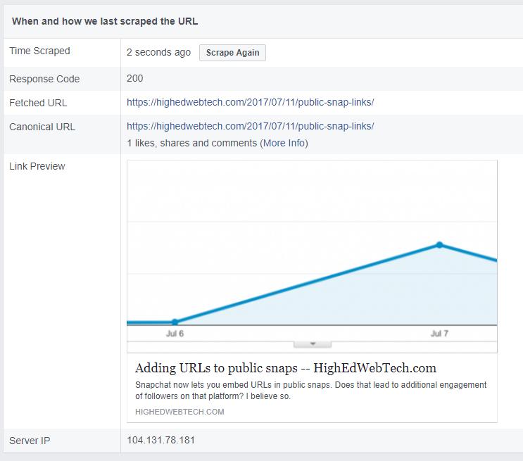 Example of Facebook Sharing Debugger Output