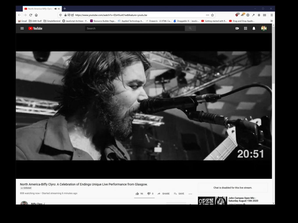 Screenshot of the Biffy Clyro Live Stream Event